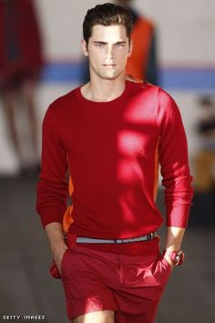 Sean O'Pry, wearing all red for Tommy Hillfiger S/S 2012
