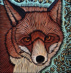 Red Fox painted woodcut block  on salvaged Douglas Fir 11 x 11.5 x 1.5 Lisa Brawn 2011