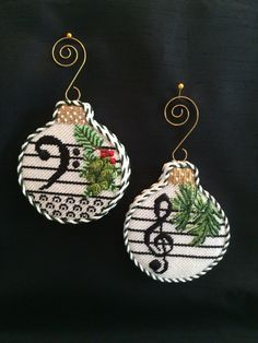 Loved finishing these musical note ornaments ~ needlepoint canvases by WhimsyGrace - Crafting Style (needlepoint canvases) Cross Stitch Christmas Ornaments, Xmas Cross Stitch, Christmas Cross, Cross Stitch Embroidery, Cross Stitch Patterns, Cross Stitch Music, Christmas Music, Music Ornaments, Felt Ornaments