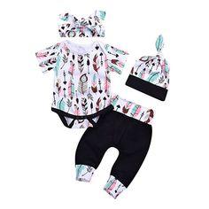1d8fe22b5f53 4 pcs Baby Girls Pants Set Newborn Infant Toddler Letter Romper Arrow Heart Pants  Hats Headband