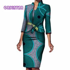 2 Pieces Set Women African Coat and Dress Elegant African Print Bazin Riche Office Female Sleeve African Clothes Short African Dresses, Latest African Fashion Dresses, African Print Dresses, Ankara Fashion, Short Dresses, African Print Clothing, African Print Fashion, African Clothes, Africa Fashion