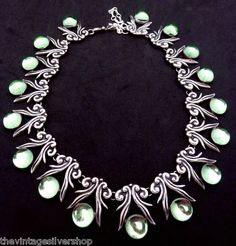 Vintage 1940s Taxco Mexico Mexican Sterling Silver Green Glass Necklace 17901 | eBay