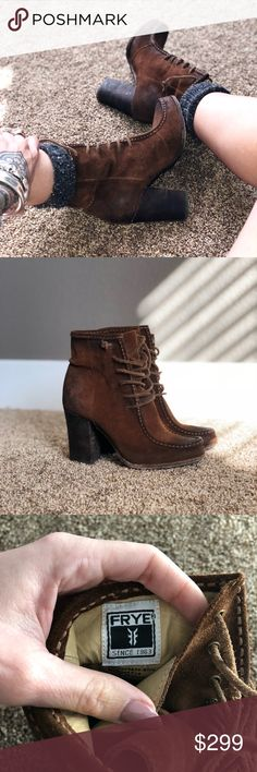"""FRYE Moccasin Lace Bootie RARE!!! Suede with stack heal. Warn lightly. No defects or damage. 3.5"""" heel. I get so many complements with these!  Trying to shrink my closet l!! Frye Shoes Heeled Boots"""