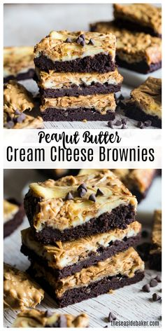 These Peanut Butter Swirled Brownies are a rich and decadent twist on a favorite.These Peanut Butter Swirled Brownies are a rich and decadent twist on a favorite treat. Featuring layers of chunky peanut butter, silky cream cheese and fudgy brownie Peanut Butter Swirl Brownies, Peanut Butter Desserts, Brownie Desserts, Brownie Recipes, Chocolate Recipes, Easy Desserts, Delicious Desserts, Peanut Recipes, Cream Cheese Desserts