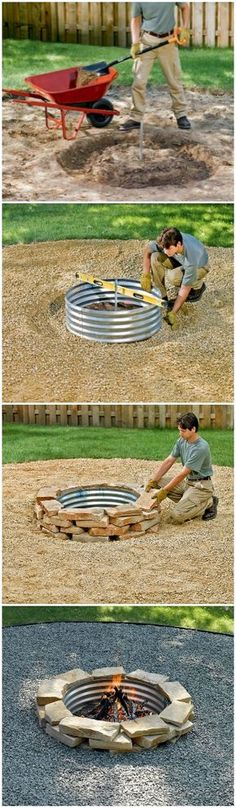 DIY fire pit designs ideas - Do you want to know how to build a DIY outdoor fire pit plans to warm your autumn and make s'mores? Find inspiring design ideas in this article. How To Build A Fire Pit, Diy Fire Pit, Fire Pit Backyard, Backyard Patio, Backyard Landscaping, Fire Pits, Landscaping Ideas, Fire Pit Ring, Fire Pit Designs