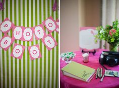 Photo booth for a pink and green monkey themed baby shower