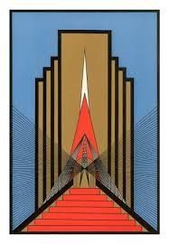 Art Deco is geometric as opposed to the flowing, organic shapes in Art Nouveau. Art Deco Illustration, Art Nouveau, Pinturas Art Deco, Art Deco Schmuck, Moda Art Deco, Muebles Art Deco, Art Deco Paintings, Art Deco Artwork, Art Deco Artists