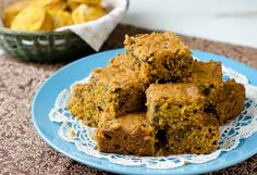 Pumpkin Chocolate Chip Cake Bars by Pennies on a Platter