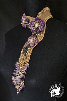 """Ionia"" by Raphaële Sénécaux. Wonderful asymmetrical bead-embroidered scarf necklace."