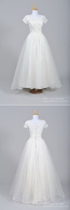 1960 LACE SWEETHEART VINTAGE WEDDING GOWN