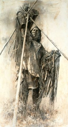 Howard Terpning - Guarding The Lodge - Hidden Ridge Gallery