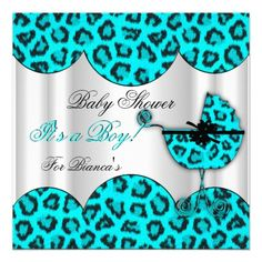 Baby Shower Boy Baby Leopard Blue Pram Custom Invite