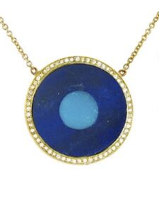 Lapis Inlay and Turquoise Center Eye Necklace with Diamonds - Yellow Gold