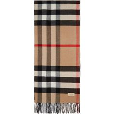 Burberry Beige and Black Helene Pocket Stole (€635) ❤ liked on Polyvore featuring accessories, scarves, beige, burberry scarves, fringe scarves, checkered scarves, burberry shawl and burberry