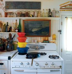 art in kitchen, colorful pots