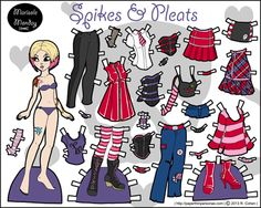 Punk paper doll in full color for printing. She's also about in black and white and she dates from 2013.