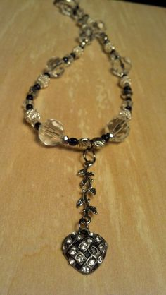 Crystal Silver 16 Inch Necklace with Tarnished by FlowerFelicity, $17.99