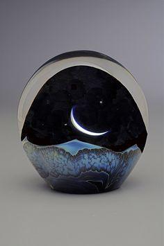 Moonrise Paperweight by Robert Burch (Art Glass Paperweight) Artful Home Blown Glass Art, Art Of Glass, Grenade, Glass Marbles, Glass Paperweights, Stained Glass Windows, Window Glass, Fused Glass, Clear Glass