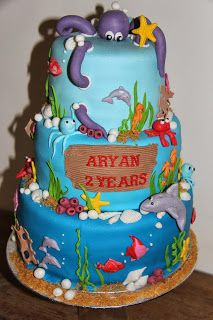 lekker zoet: zee, onderwater taart voor Aryan 2 years old