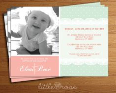 Baptism Invitation Lace Polka Dot w/Your Photo by LittleRoseStudio, $12.00