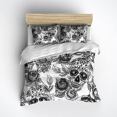 Fleece Ink & Rags Signature White Sugar Skull and Rose Bedding