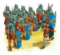 Centurion and Optio instructing Legionaries.