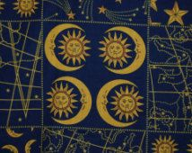 OOP 1993 Fabric Traditions Celestial Astrology Astronomy Zodiac Sun Moon Stars quilting cotton