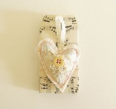 Vintage Lace Heart with Re purposed Vintage Music Paper Envelopes Wedding Favors Lot of Five Made to Order
