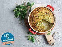 Αυτή την εβδομάδα το #MadewithAB ετοιμάζει για εσάς κολοκυθένια ομελέτα φούρνου, ένα πιάτο που θα αγαπήσει όλη η οικογένεια, πλούσιο σε θρεπτικά στοιχεία. Hummus, Ethnic Recipes, Food, Essen, Meals, Yemek, Eten