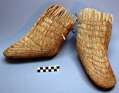 Pair of Unaliqmiut Inuit twine-woven grass overshoes.
