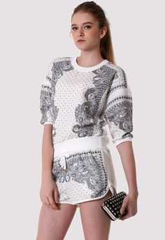 White Baroque Pattern Top and Shorts Set