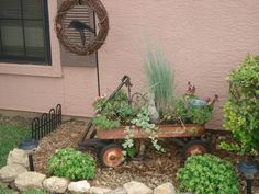 An old Radio Flyer wagon made into a planter.