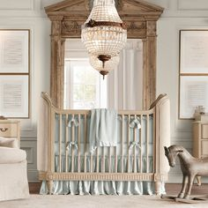RH baby&child's Belle Upholstered Crib:The perfect retreat for a cozy night& sleep, our Belle Crib was inspired by a French antique bed. The gently rounded and wrapped ends are upholstered in stain-resistant sand Belgian linen. Teen Boy Bedding, Nursery Bedding, Nursery Room, Girl Nursery, Royal Nursery, Princess Nursery, Baby Bedding, Elegant Baby Nursery, Vintage Nursery
