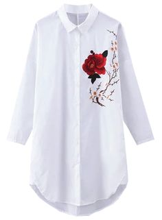 The shirt is featuring turn down collar, long sleeve, floral embroidery pattern and button down front closure.