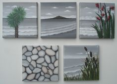 NZ Icons Set of 5 - Cabbage Tree, Rangitoto, Flax, Pebbles and Bullrushes, Paintings by Astrid Rosemergy, 2012