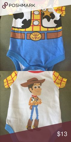"Disney Baby Onesie New Disney baby Onesie for sale!! Toy Story featuring ""Woody"". Front and back your baby will look adorable in this sheriff Onesie. NWOT Disney One Pieces"
