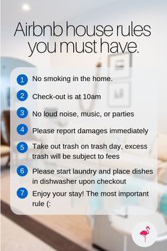 Airbnb house rules you must have Vacation rental house rules template and guide to write your own house rules Highlights key rules for guests to guestproof your vacation. Airbnb Rentals, Vacation Home Rentals, Cabin Rentals, Airbnb House Rules, House Rules Sign, Air Bnb Tips, Zona Colonial, Airbnb Design, Trash Day