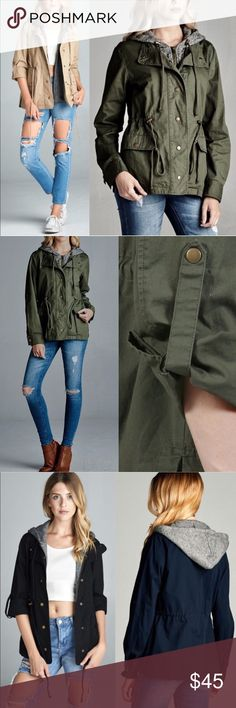 TAMBERLYNN 3/4 sleeve utility jacket - OLIVE 3/4 ROLL UP SLEEVE TWO TONE TERRY MIXED UTILITY JACKET with hoodie. Can also be worn as long sleeve jacket.   Fabric 100% COTTON Bellanblue Jackets & Coats Utility Jackets