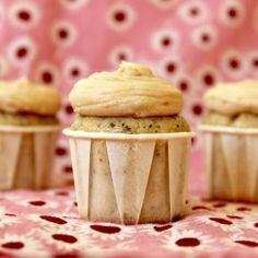 This is THE best frosting ever! Earl Grey Mini Cupcakes with Brown Butter Toffee Frosting