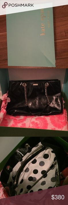 Cooper square Black Kate Spade Helena purse Black Kate spade purse, polka dot inside, golf chain, small light brown stain on inside, used a handful of times, come with box, but box is dented on one corner kate spade Bags Totes