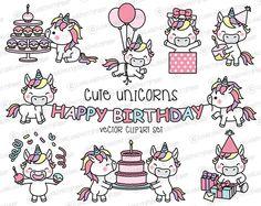 Haut de gamme Vector Clipart - Kawaii anniversaire licornes - anniversaire mignon licornes Clipart Set - vecteurs de haute qualité - Kawaii anniversaire Clipart