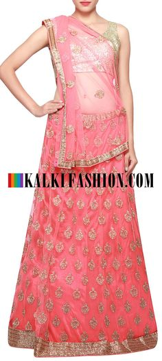 Get this beautiful lehenga here: http://www.kalkifashion.com/pink-lehenga-adorn-in-zari-butti-only-on-kalki.html Free shipping worldwide.