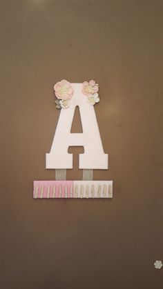 "13"" Headband Holder / Bow Holder with a Nursery Letter - Custom made for Kids room, Nursery, or Bathroom by AaliyahsLetters on Etsy"