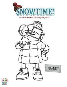 Free Snowtime Printable Franky Coloring Page