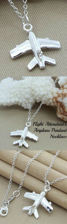 Flight Attendant's Airplane Pendant Necklace! Click The Image To Buy It Now or Tag Someone You Want To Buy This For.  #FlightAttendant