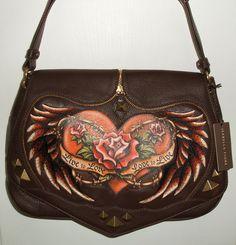 Isabella Fiore brown leather Bridget shoulder bag, Live Love, front close-up