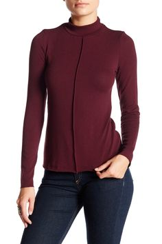 Ribbed Mock Neck Long Sleeve Tee