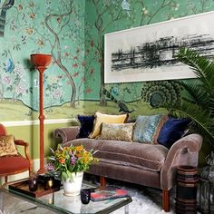 Luxurious Small Living Room With Hand-Painted Wallpaper
