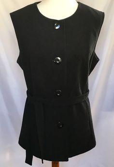 Chico's Womens Size 2 Long Vest Belted Button Front Lined Black Polyester Rayon  | eBay