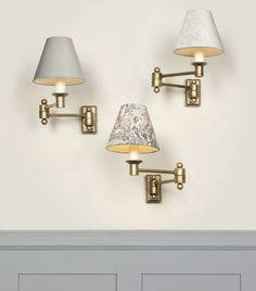 These #Hinged #WallLights are great for sitting over beds and sofas and are easy to accessorize with a pretty #candleshades